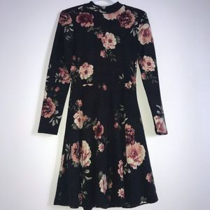 Floral mock neck long sleeve dress